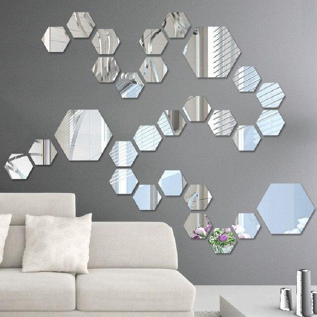 Moderne Spiegel 12 stks partij diy hexagon muur spiegel stickers zelfklevende