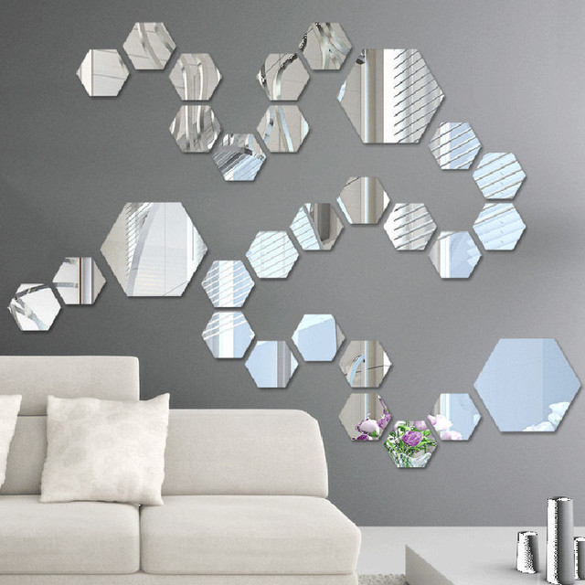 12pcs/lot diy art hexagon wall mirror stickers self adhesive acrylic