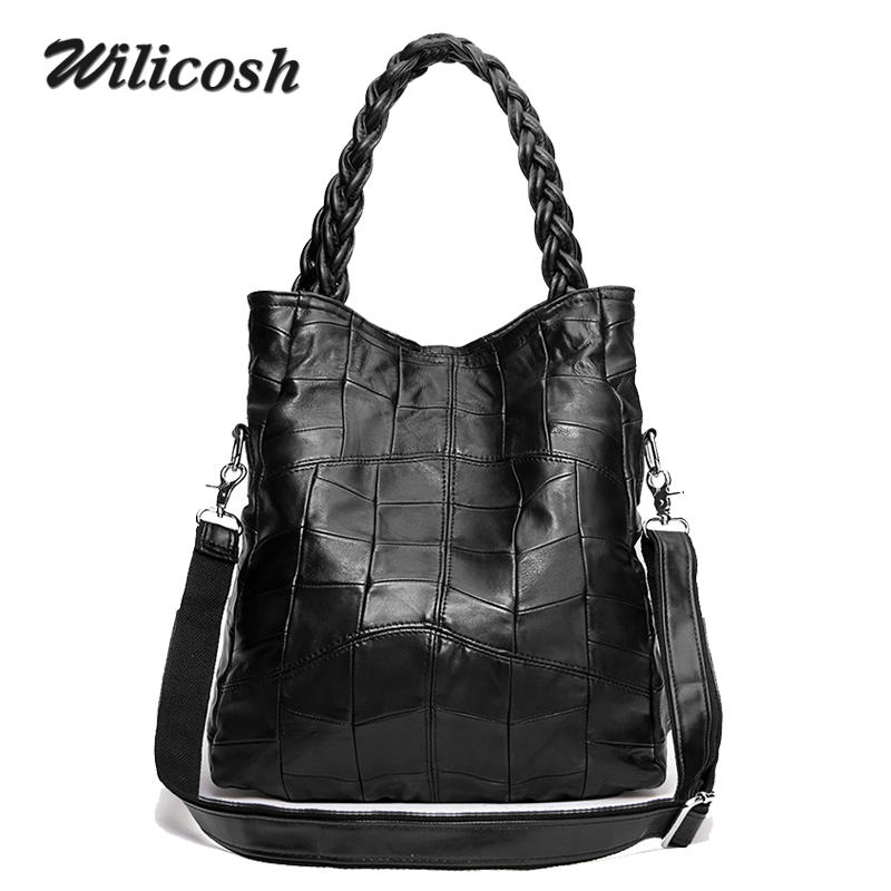 2017 Fashion Genuine Leather Women Handbag Patchwork Natural Sheepskin Shoulder