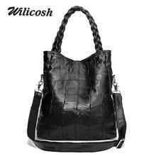 2017 Fashion Genuine Leather Women Handbag Patchwork Natural Sheepskin Shoulder Bag Famous Brand Women Bag Casual Tote sac WL368