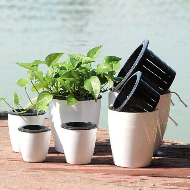 3 Pcs Plastic Self Watering Stackable Garden Vertical Planter Set Bonsai  Pot Wall Flower Pot Garden