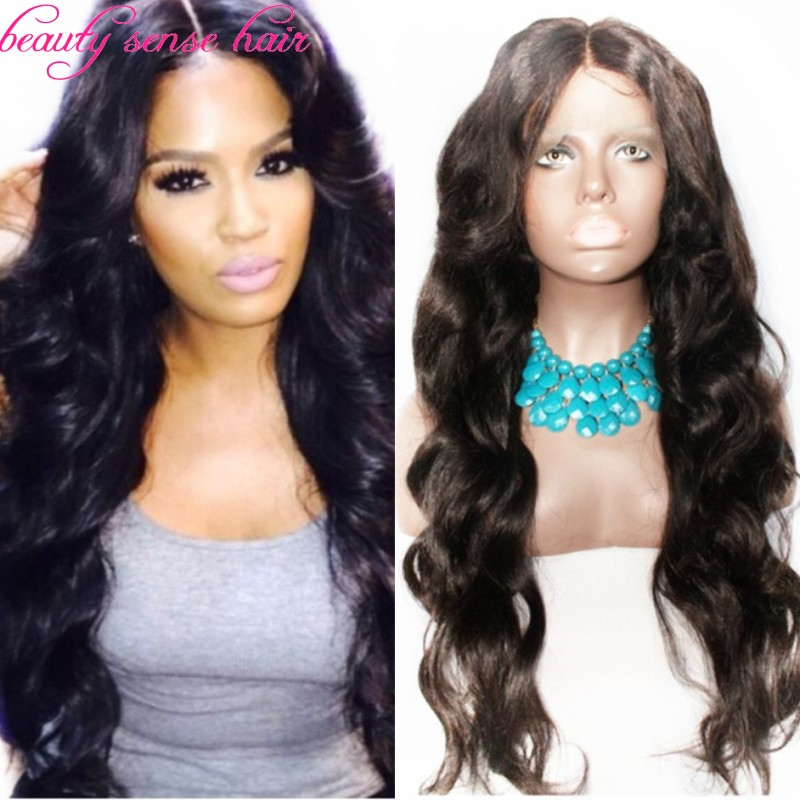Best quality Glueless Silk Top Full Lace Wigs natural hairline Virgin Brazilian Human hair Wavy Middle part Front - Shop426226 Store store