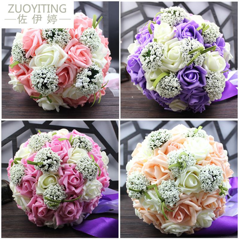 ZUOYITING,Bride Holding Flowers, New Arrival Romantic Wedding Colorful Bride 's Bouquet,red Pink Blue And Purple Bridal Bouquets