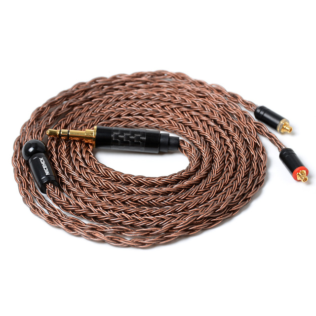 Nicehck cabo de fone de ouvido em cobre, cabo de fone de ouvido de alta pureza, 16 núcleo, conector mmcx/2 pinos para tfz, 3.5/2.5/4.4mm trnv90 zsx ccac12 nicehck f3/nx7 pro/db3