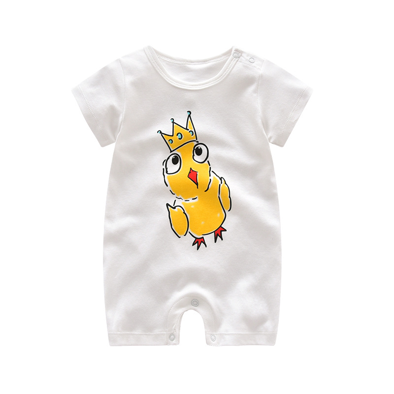 2017 New Fashion Summer Baby Romper Cartoon Print Newborn Baby Clothing Soft Cotton Baby Girl Clothes White Color Baby Costume
