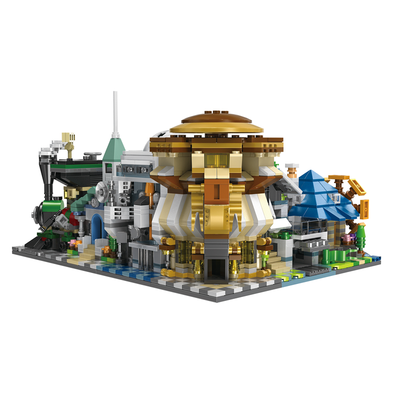 6 in 1 Model building kit compatible with lego city mini Creators Church Villa train station Model Building City street 1512+pcs