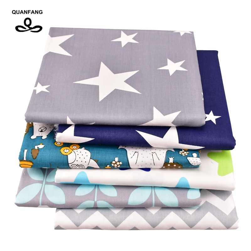 Quanfang novo cinza 6 pçs/lote ou 50x160 cm/peça sarja tecido de algodão para retalhos diy estofando costura tecido bebê crianças material