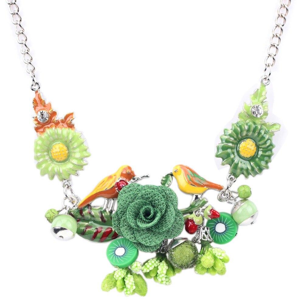 Bonsny Pernyataan Choker Enamel Bunga Kalung Paduan Burung Logam - Perhiasan fashion - Foto 3