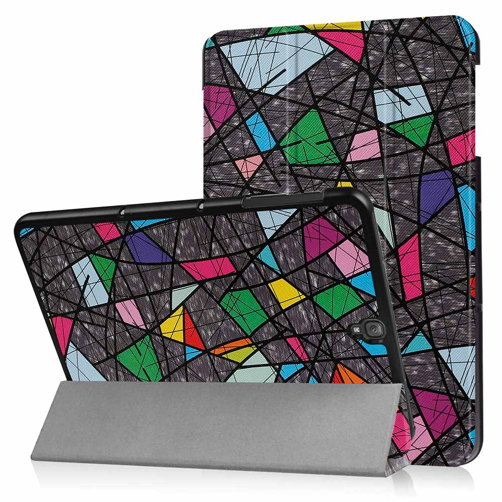 for Samsung Galaxy Tab S3 9.7 Case Tri-Folding Painted PU Leather Cover Case for Samsung Tab S3 9.7 T820 T825 Tablet Case+Stylus pu leather case cover for samsung galaxy tab 3 10 1 p5200 p5210 p5220 tablet