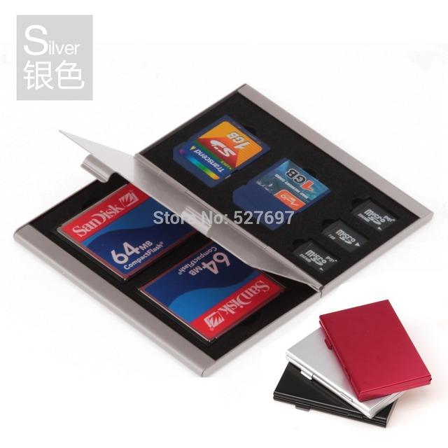 Marca SLR Câmera Liga de Alumínio Caso Do Cartão Compact Flash CF SD cartão de Memória MicroSD De Armazenamento caixa de 2 x CF 2x3 x SD Caso do Cartão de TF Como O Presente