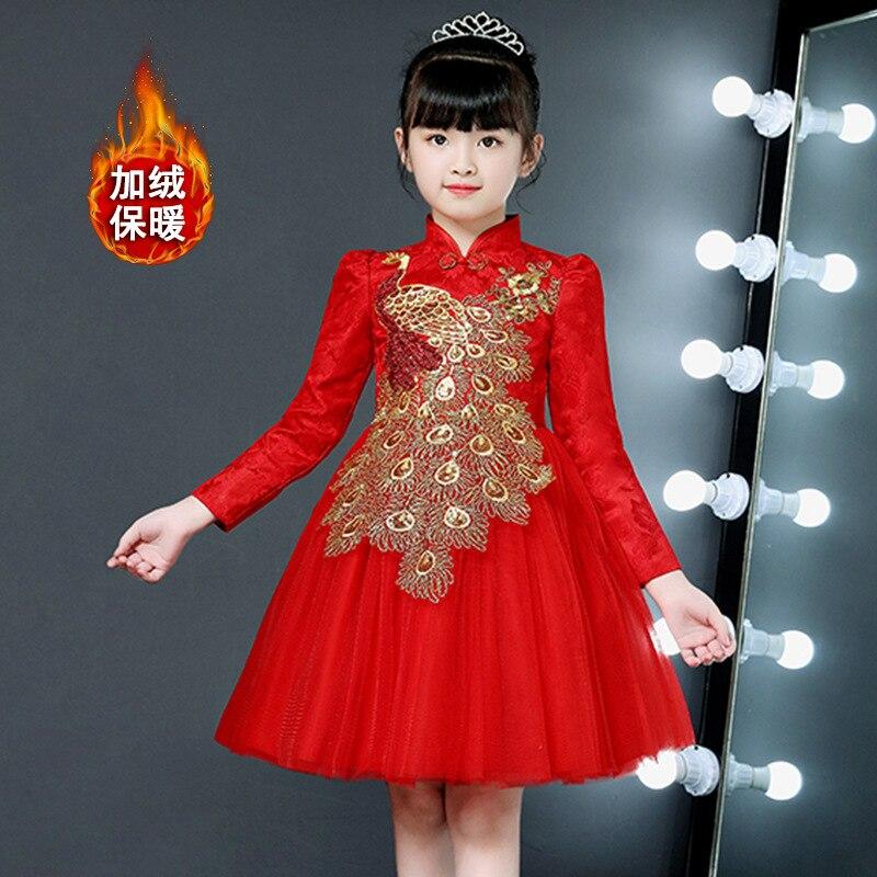 Printemps et automne robe de soirée pour filles cheongsam peafchouette costume enfants manches longues princesse 3-13 ans