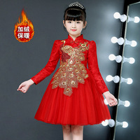 Spring and autumn girls' evening dress cheongsam peafowl costume children's long sleeved princess 3 13 years old