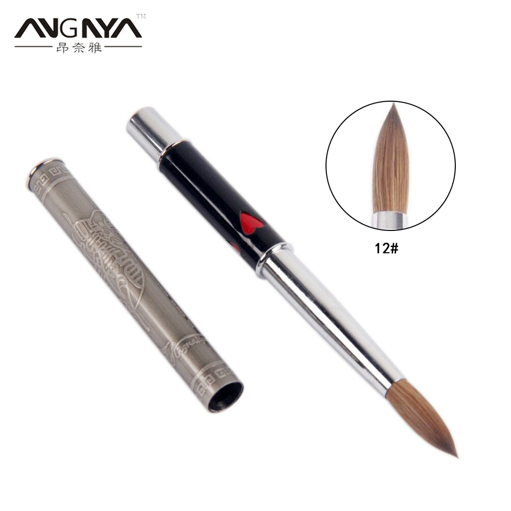 ANGNYA 1Pcs Kolinsky Hair Sable Brush 14# Antique Style With Red Heart Metal Handle Acrylic Nail Art Brush Manicure Tools A131