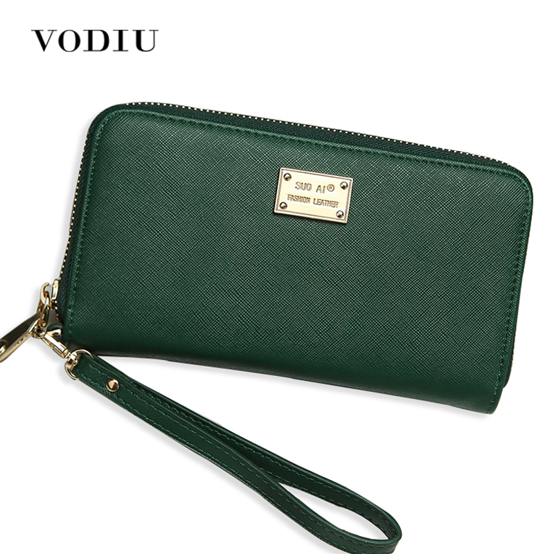 2017 Minimalist Designer Women Zipper Leather Long Wallet Brand Female Wristlet Clutch Purse Phone Credit Card Holder Portomonee