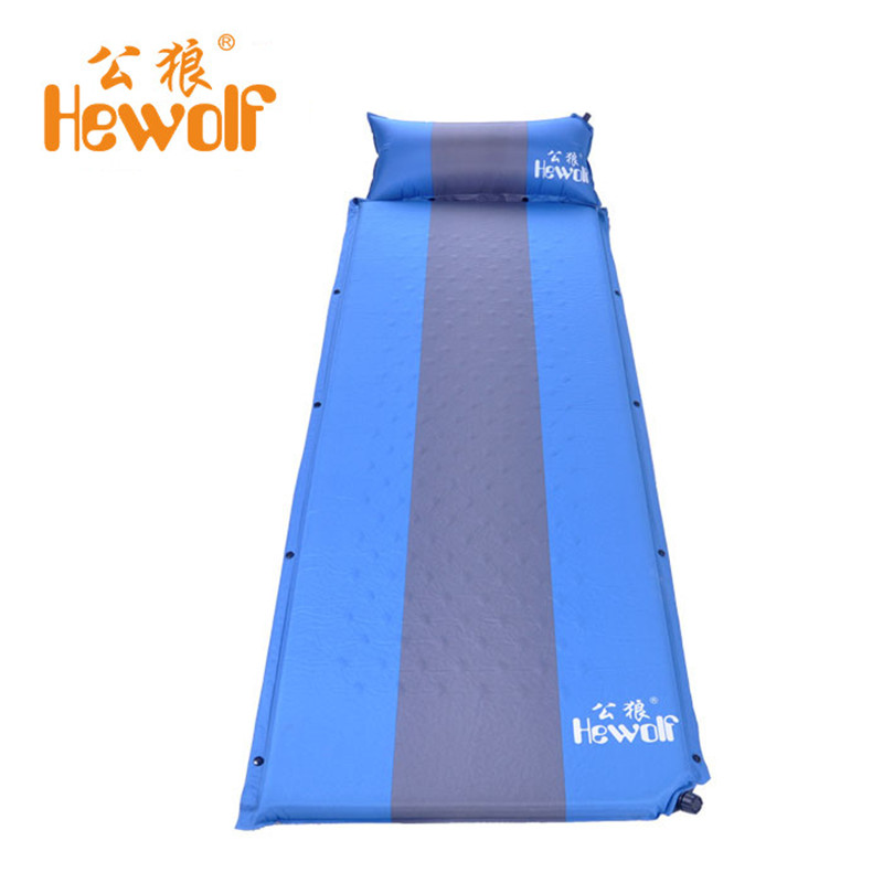 Hewolf Outdoor Thickening Damp proof Sleeping Pad Tent Mat Automatic Inflatable Single Tent Camp Bed Splicing Portable Hot