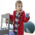 Vestuário infantil 2016 Outono e Inverno Nova Meninos Casaco Crianças Jaquetas Meninas Outerwear Crianças Casaco de Lã Quente Do Bebê Com Capuz jaqueta