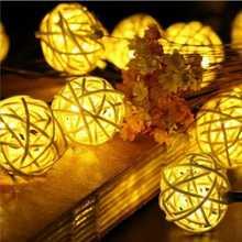 6 M 30 diody LED Solar lampa ciąg kula ratanowa girlandy święto Wedding Party Decoration boże narodzenie wróżka LED String światła dla sportu na świeżym powietrzu tanie tanio Słoneczne Brak Wakacje Aerlyn RoHS ta Plastikowe w ciągu 1 roku Ni-MH 12 v 6 v String Rattan Ball IP65 Żarówki led