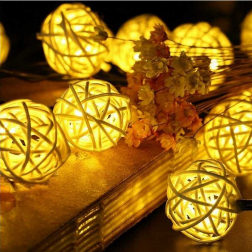 6M 30 LEDs Solar lamp String Rattan Ball Garlands Holiday Wedding Party Decoration Christmas Fairy LED String Light For Outdoor great holiday light hotel wedding celebration decoration 3 6m red led lamp h276