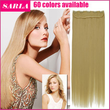 1PC Clip In Hair Extensions 24inch 60cm Straight Long Blonde Hairpieces Full Head Synthetic Natural Clip On Hair Extension 666