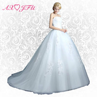 AXJFU Tube top flower wedding dress the bride princess wedding dress train brief slim wedding dress photos 10 SW
