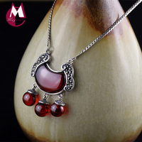 Natural Chalcedony Red Garnet Lock Necklaces Pendants 925 Sterling Silver Necklaces Women Trendy Chain Fine Agate Jewelry SN01