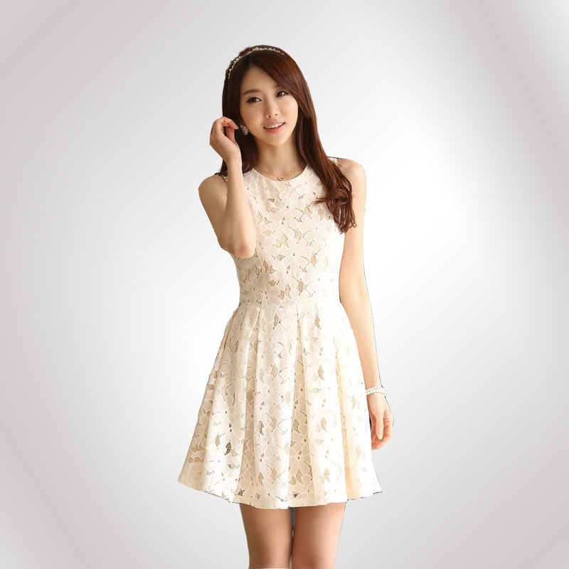 Images of White Lace Casual Dress - Reikian