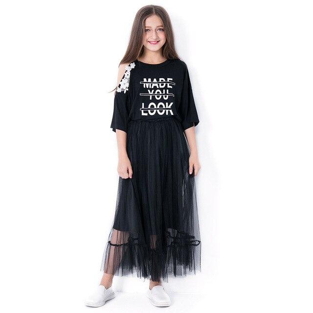 Adolescente Meninas Vestido Primavera Vestidos Casuais Crianças Moda Traje Do Partido Dos Miúdos Vestido de Verão Adolescente Meninas Blusa Roupas para 6- 14 Y
