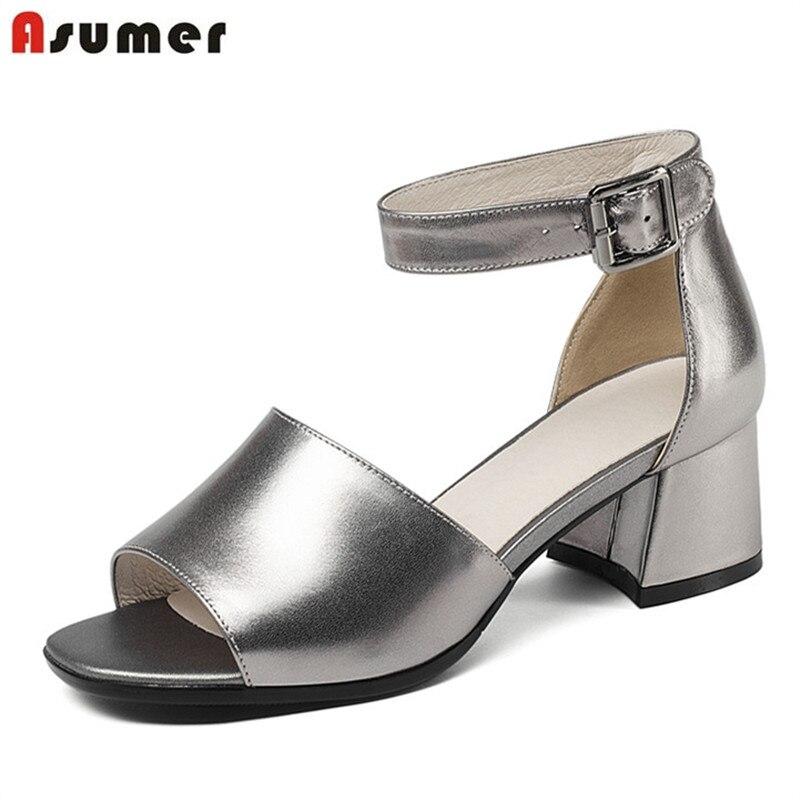 ASUMER 2020 di estate di modo sandali delle donne di alta tacchi scarpe di alta qualità genuino lesther vendita calda scarpe eleganti scarpe donna-in Tacchi alti da Scarpe su  Gruppo 1