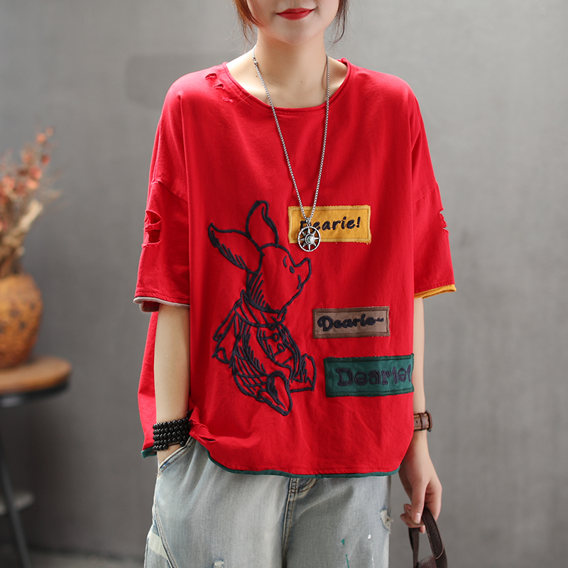 Women Summer Fashion Brand China Style Vintage <font><b>Pig</b></font> Embroidery Patch Hole Half Sleeve Cotton T-shirt Female Casual Loose <font><b>Tshirts</b></font> image