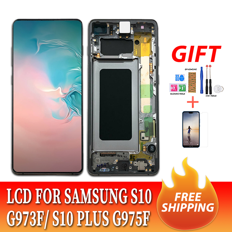 100% Original Amoled <font><b>LCD</b></font> Display with Frame for <font><b>SAMSUNG</b></font> Galaxy <font><b>S10</b></font> G9730 Display <font><b>S10</b></font>+ Plus G9750 Touch <font><b>Screen</b></font> Digitizer image