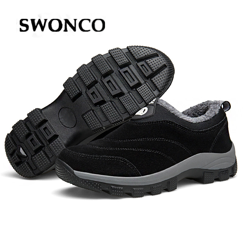 SWONCO 46 Big Size Men Shoes Winter Velvet Warm For Snow Boots Dad Slip On Sneakers Fur Warm Snowboots Snow Boots For Male Warm