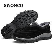 SWONCO 46 duże rozmiary męskie buty zimowe aksamitne ciepłe na śnieg buty tata Slip On Sneakers futro ciepłe śnieżne śnieg buty dla mężczyzn ciepłe tanie tanio Buty śniegu Kostki Slip-on Stałe Krótki pluszowe Dla dorosłych Pasuje prawda na wymiar weź swój normalny rozmiar