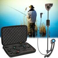 4pcs LED Digital Carp Fishing Bite Indicator Chain Fishing Swinger Alarm in Case illuminated Swinger Set Fishing Tackle Boxes