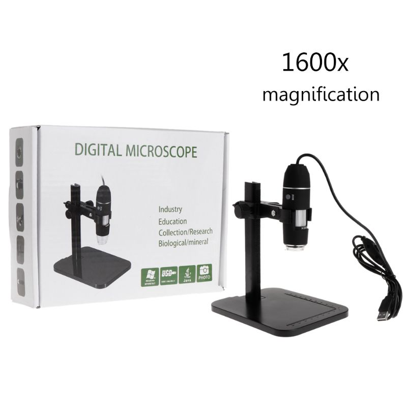 1600X 8LED USB Digital Microscope Magnifier Camera Endoscope With Ruler Bracket