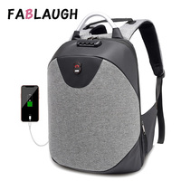 FABLAUGH Men Anti Theft Backpack USB 15.6 Inch laptop Women Backpack Waterproof Casual Travel Business Male Knapsack Schoolbags