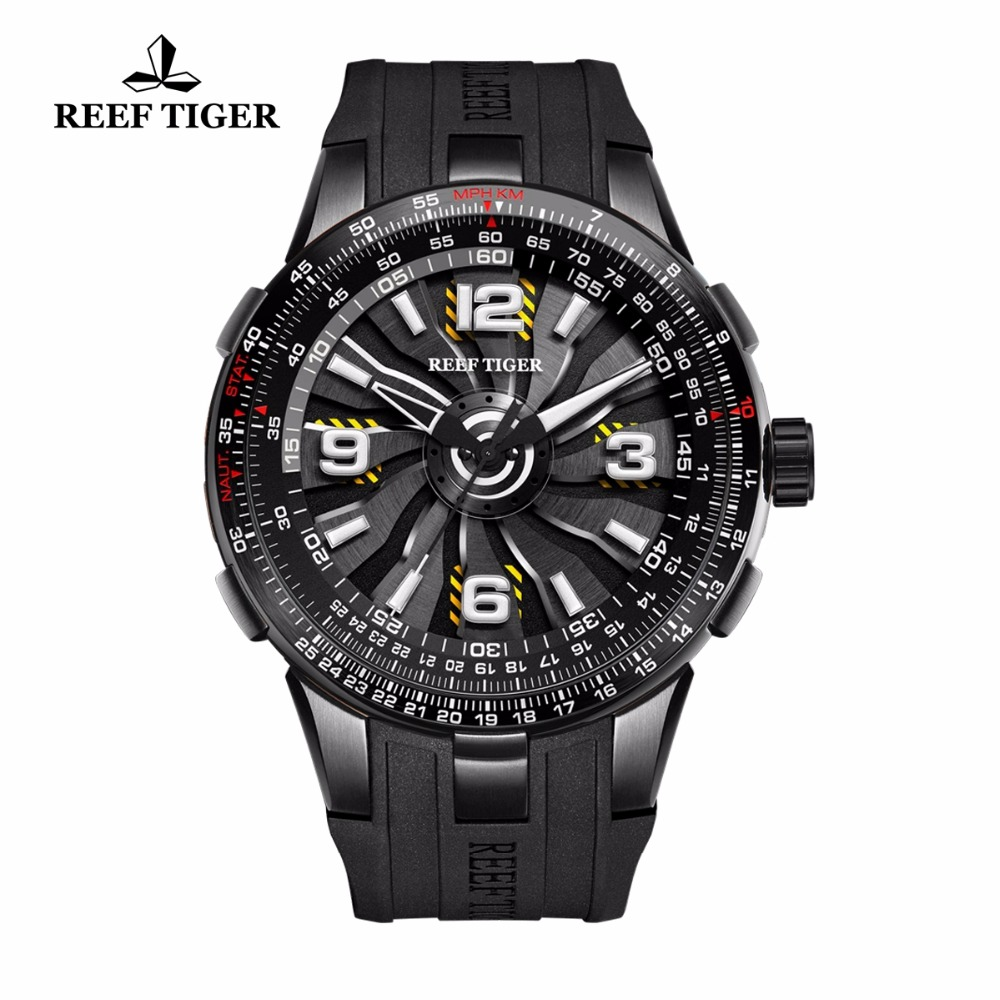 New Reef Tiger/RT Pilot Watches for Men Rubber Strap Whirling Dial Black Steel Automatic Watches Military Watch RGA3059 yn e3 rt ttl radio trigger speedlite transmitter as st e3 rt for canon 600ex rt new arrival