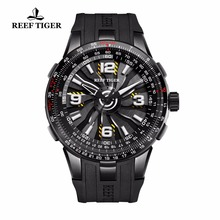 New Reef Tiger/RT Pilot Watches for Men Rubber Strap Whirling Dial Black Steel Automatic Watches Military Watch RGA3059 reef tiger rt watches 2017 new luxury brand automatic watch date business watches steel case luminous watch for men