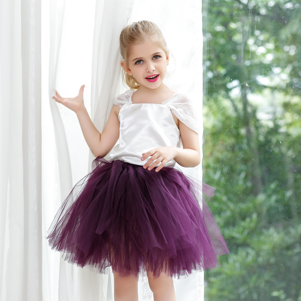 Two Piece Set Ivory Satin Bodice With Tutu Skirt For Girl Kids Ballet Fluffy Girls Toddler Tutus Children PT67 In Skirts From Mother On