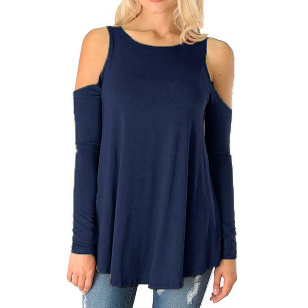 Women Round Neck Cold Shoulder Pure Color Strapless Long-sleeved T-shirt Loose Tops Large Size Women's Clothing