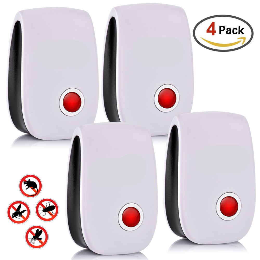 4pc Electronic Ultrasonic Pest Repeller Rejector Anti Mosquito Fly Insect Rodent Mice Mole Repeller  Indoor Pest Control Tool