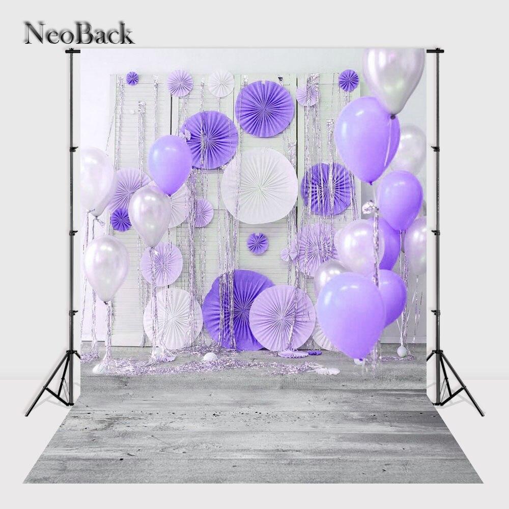 NeoBack Vinyl Cloth New Born Baby Photography Backdrop Purple Balloon Wedding Children Birhtday Studio Photo backgrounds P2438