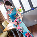 Sexy Charming Satin Silk Cap Sleeve Chinese Traditional Cheongsam Evening Dress Full-Length High-slit Qipao