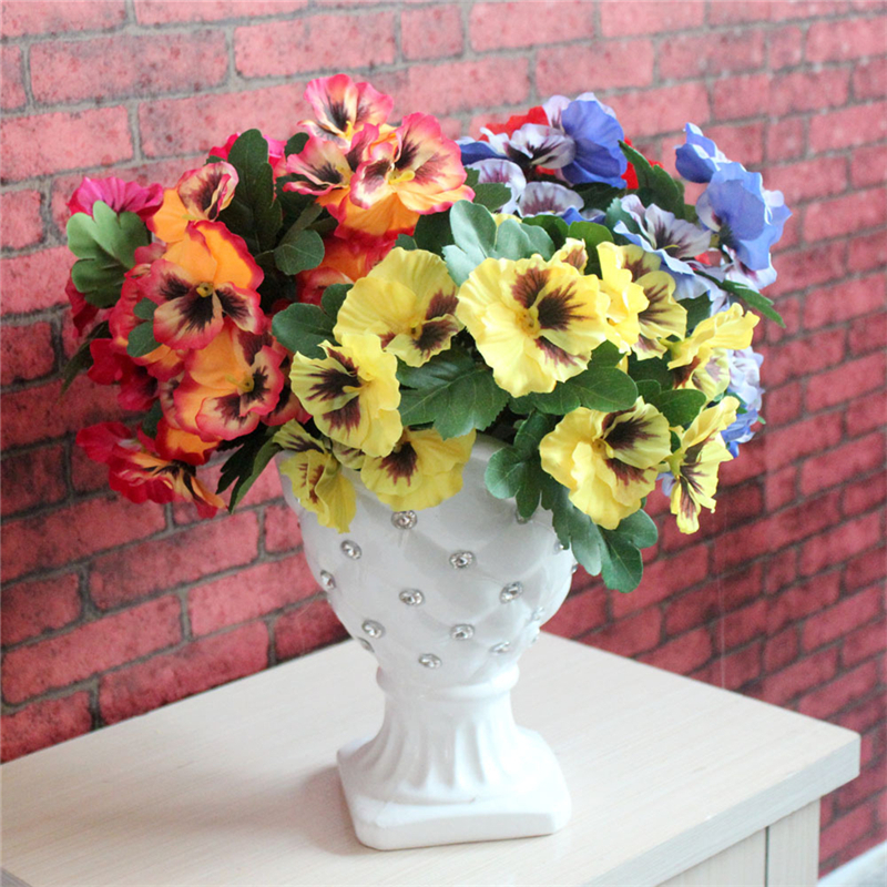1 Pc Artificial Simulation Silk Flower Pansy Artificial Plant Wedding Party Home Table Garden Decoration in Artificial Dried Flowers from Home Garden