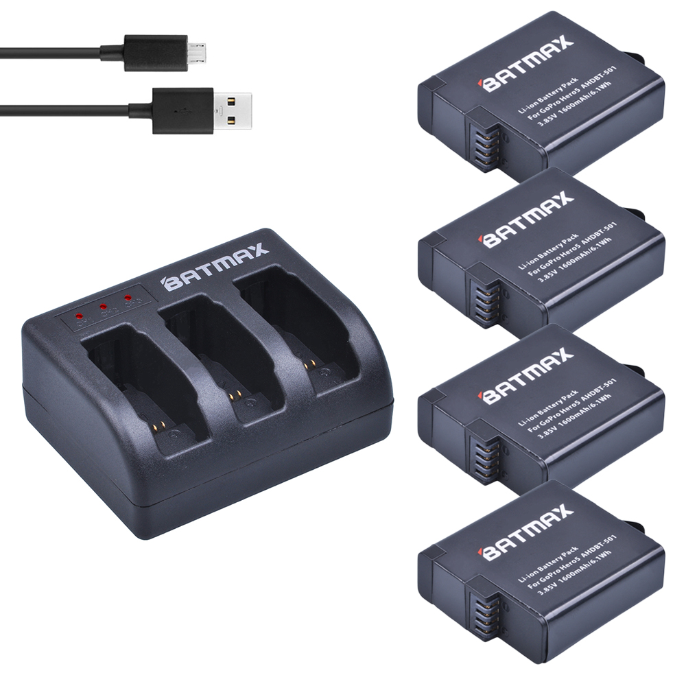 1600mAh 4Pcs Battery for GoPro Hero6 / Hero5 Black Batteries + 3-slots USB Charger with Type C Port for GoPro hero5/6
