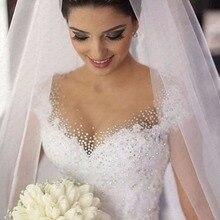 Vestido De Noiva Ren Wedding Dress 2019 Luxury Bóng Gown Wedding Dress Scoop Cap Tay Áo Cưới Gowns Robe De Mariee casamento
