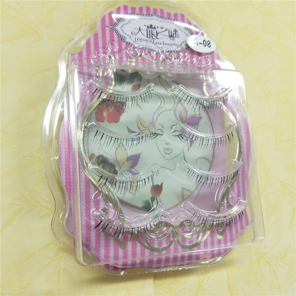 4 Pairs/box Natural Long Lower False EyeLashes Makeup Handmade Fake False Eye Lashes Down Eyelash Extension free shipping