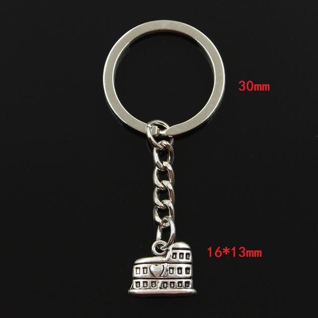 Neue Mode Keychain 16x13mm Römische Kolosseum Rom Italien Anhänger DIY Männer Schmuck Auto Schlüssel Kette Ring Halter souvenir Für Geschenk