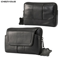 CHEZVOUS 100% Genuine Leather Belt Bag For iPhone X 7 8 6 5s Phone Bag Belt Clip Case For Samsung S8 S7 S5 Waist Packs 5.2 inch