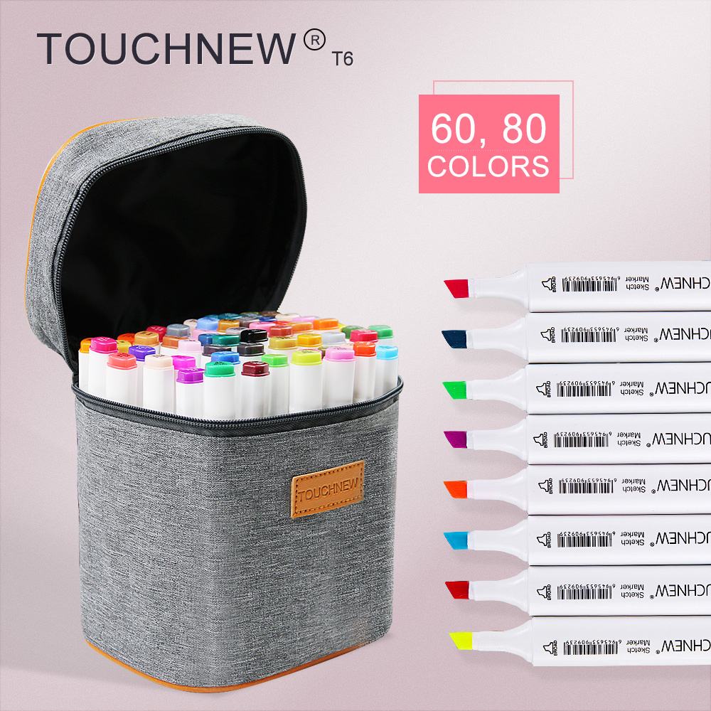 TOUCHNEW T6 60/80 colors dual tips white barrel sketch markers grey bag for drawing painting design manga  art supplies touchnew t6 60 80 colors dual tip black barrel sketch markers camouflage bag for drawing painting design manga copic