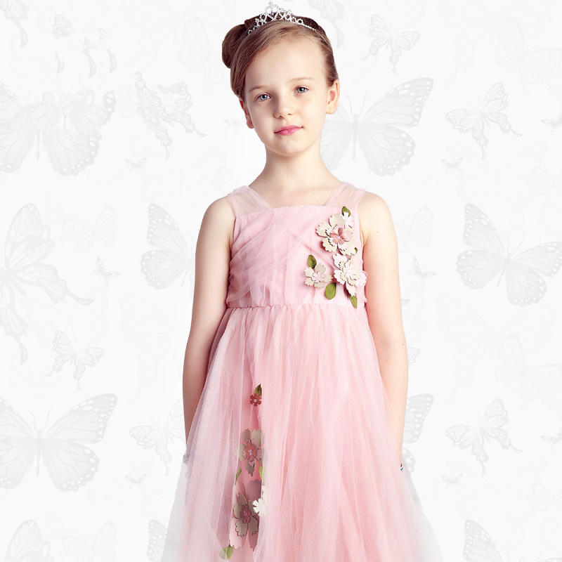 Girls Dress with Handmade Dragonfly 2017 Brand Princess Dress Long Sleeve Robe Fille Clothes Kids Dresses 34